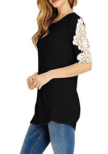 LAINAB Women Basic Lace Patchwork Top Short Sleeve Loose Casual Tunic T Shirt Black XL