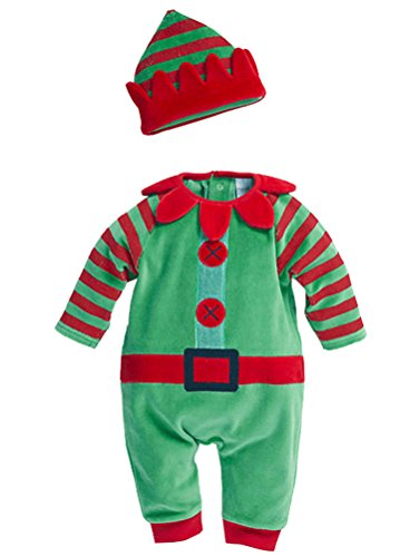 [Swaroser Kids' Santa's Lil' Elf Costume Unisex-baby Christmas Suits Leotard Santa Hat Jumpsuit Climbing Clothes Rompers Pant 2PC Sets] (Infant Santa Costumes)