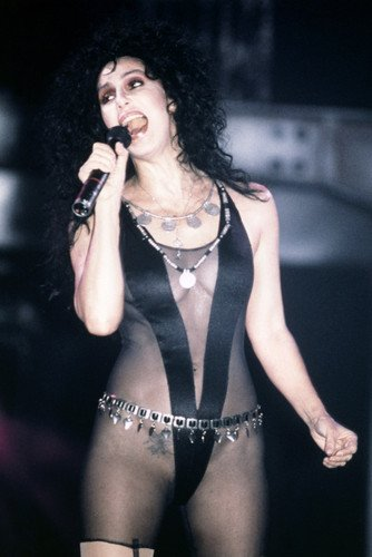 [Cher 24X36 Poster Stunning Very Revealing Black Costume Tattoo Concert Singing] (Revealing Costumes)