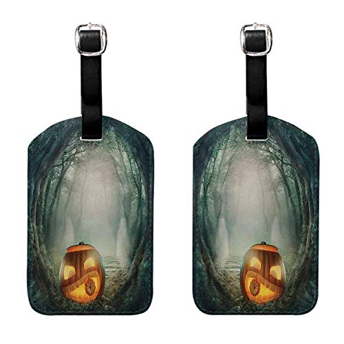 Tags with Halloween,Drawing of Scary Halloween Pumpkin Enchanted Forest Mystic Twilight Party Art,Orange Teal Baggage Name Tag