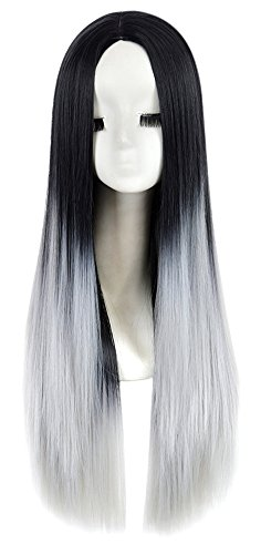 Gracefulvara Long Front Black Gray Gradient Ombre Full Wig Long Straight Heat Resistant (Cheap Wig)