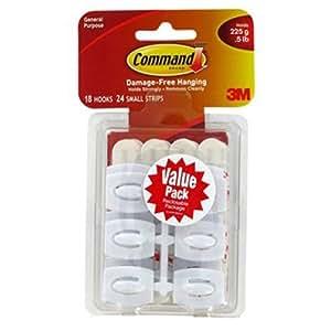 Command Mini Hooks Value Pack, White, 18-Hooks (17006-18ES)