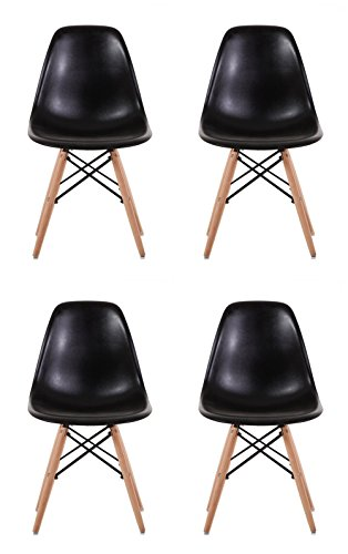 Creation Yusheng Eames Style Dining Chair with Natural Eiffel Base Wooden Leg Modern plastic Dining Side Chair, Black, Set of 4