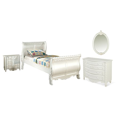 HOMES: Inside + Out IDF-7226F-4PC 4 Piece ioHOMES Emory Sleigh Bed Set, Full, White
