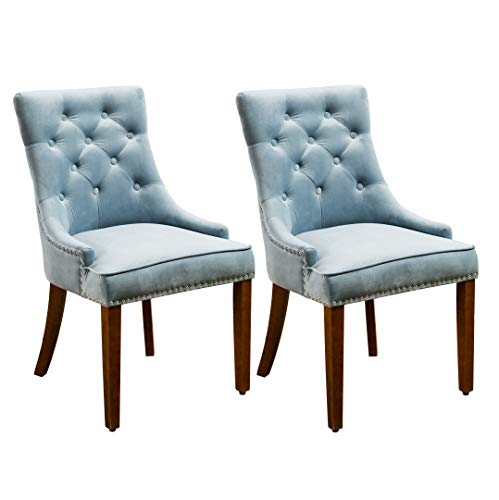 Per-Home Modern Tufted Upholstered Velvet Fabric Dining Chairs with Nailhead Set of 2(Blue)