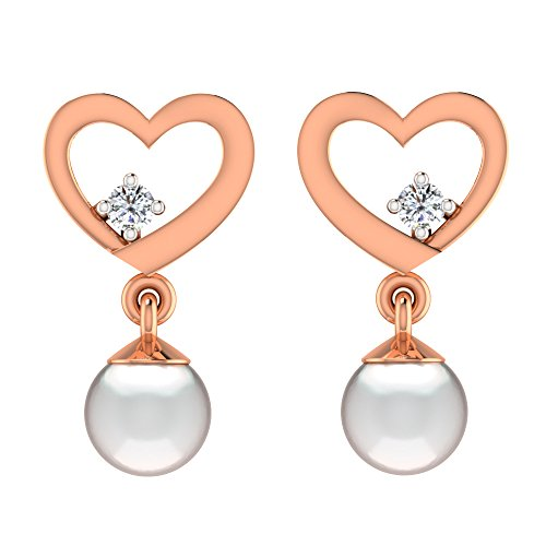 Libertini Boucle d'oreille argent 925 plaque or Rose serti de Diamant et Perl...