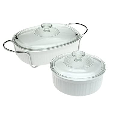 CorningWare French White 5-Piece Serving Bake and Serve Set