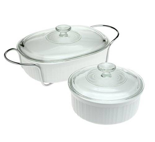 CorningWare 6109046 French White 5-Piece Serving Bake and Serve Set