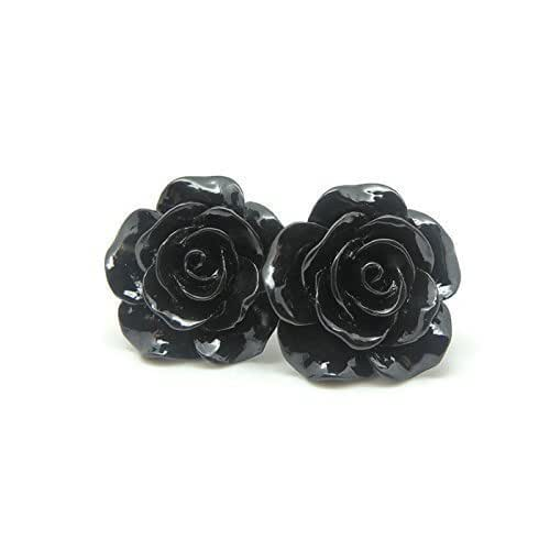Amazon.com: Large Rose Earrings on Plastic Posts for Metal ...