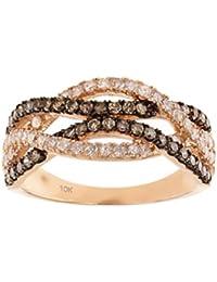 10K Rose Gold Brandy Diamond Chocolate Brown Elegant Crossover Ring 3/4 Ctw.