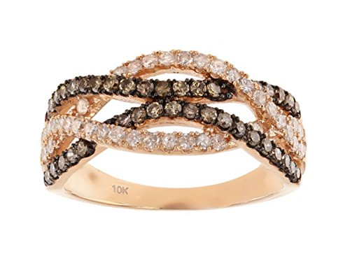 10K Rose Gold Brandy Diamond Chocolate Brown Elegant Crossover Ring 3/4 Ctw. (9) by Brandy Diamond
