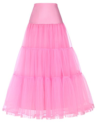 GRACE KARIN Net Bridal Crinoline Petticoat for Wedding Dress (S,Pink)