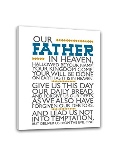 Inspirational Motto Our Father In Heaven Hallowed Be Your Name Your Kingdom Come Canvas Wall Art Modern Home Decorations painting Stretched and Framed Ready to Hang Wall Decor (16X24inch(40X60cm)) (Our Father In Heaven Hallowed Be Your Name)