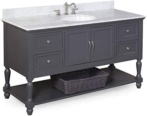Virtu USA JD-50154-GO-001 Midori Double Bathroom Vanity with White Polymarble Top Square Sink with Brushed Nickel Faucet, 54 , Grey Oak