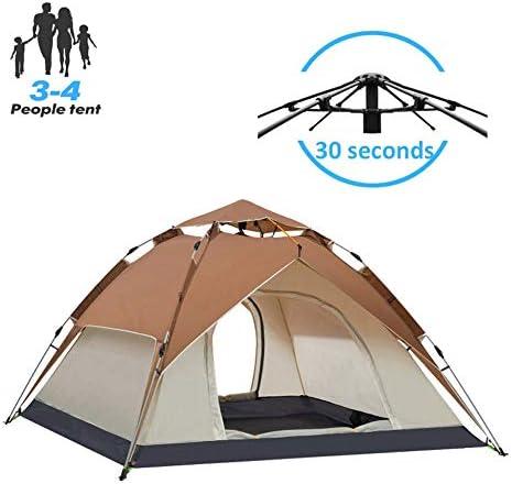 ポータブルポップアップテント3〜4人キャンプテント自動UV保護ビーチテントビーチ屋外旅行ハイキングキャンプ日よけ,Brown-230*200*140CM