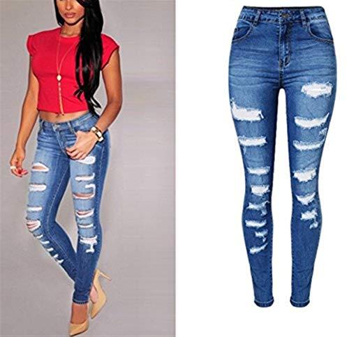 Denim Vita Boyfriend Distressed Jeans Blau Abbigliamento Strappati Estate Alta Donna Hole Pantaloni Dchen qxOzaa