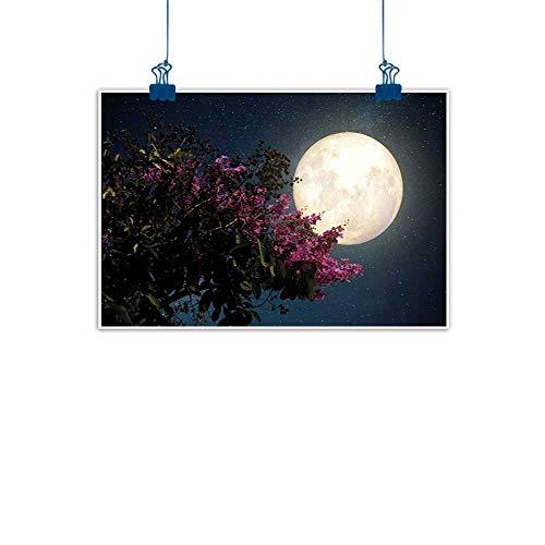- Sunset glow Canvas Prints Boho Moon,Cherry Blossom with Stars from Milky Way Eastern Night Sky Full Moon,Magenta Ivory Dark Blue for Boys Room Baby Nursery Wall Decor Kids Room Boys Gift 20