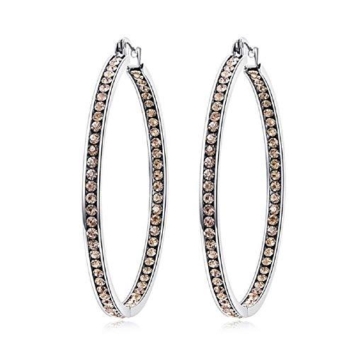 - CiNily Ladies Earring Hoops-Stainless Steel Hoop Earrings for Women Champagne Cubic Zirconia Large Big Hoop Earrings Hypoallergenic for Sensitive Ears