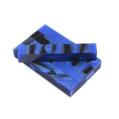 Legacy Woodturning, Acrylic Pen Blank, Dark blue and black with pearl, 5