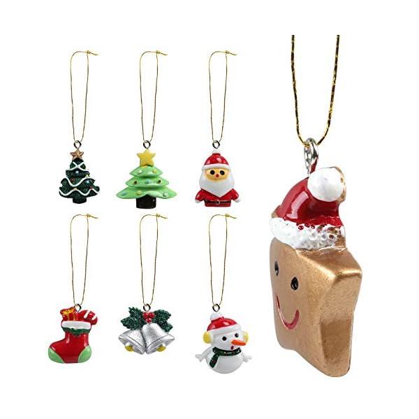 Naler 24pcs Christmas Fascino del Pendente, Fascino della Resina del Pupazzo di Neve dell'alce del Babbo Natale per l'ornamento della Decorazione di Natale DIY Craft 5 spesavip