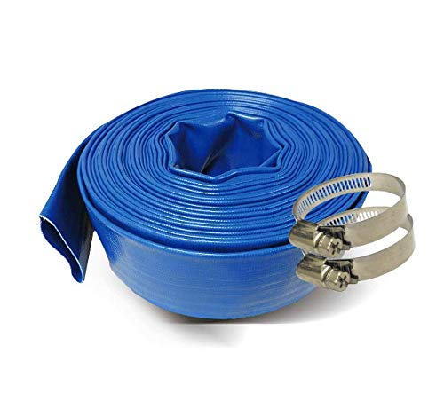Schraiberpump 1-Inch by 100-Feet- General Purpose Reinforced PVC Lay-Flat Discharge and Backwash Hose - Heavy Duty (4 Bar) 2 CLAMPS INCLUDED
