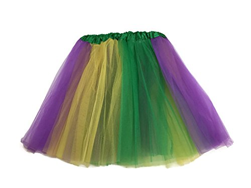 (Rush Dance Multi Color Women's Costume Ballet Warrior Dash Run Tutu (Adult, Yellow/Purple/Green (Mardi)