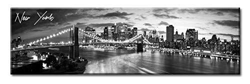DJSYLIFE New York Skyline Wall Art - Brooklyn Bridge Night View - Black and White NYC City Pictures Scape Artwork Painting Decoration for Bedroom or Office, Ready to Hang 13.8