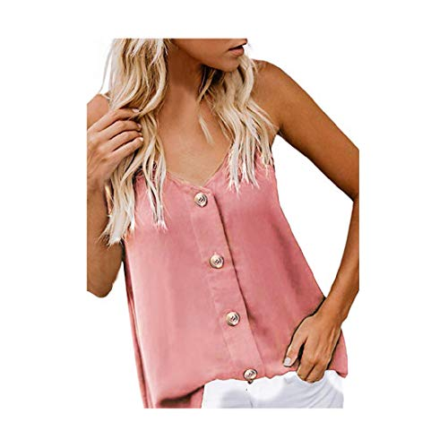 Toponly Women's Button Down V Neck Strappy Tank Tops Loose Casual Sleeveless Shirts Blouses