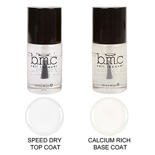 Maniology (formerly bmc) Super Fast Speed Dry Top Coat and Calcium Rich Base Coat Nail Polish Manicure Combination Set