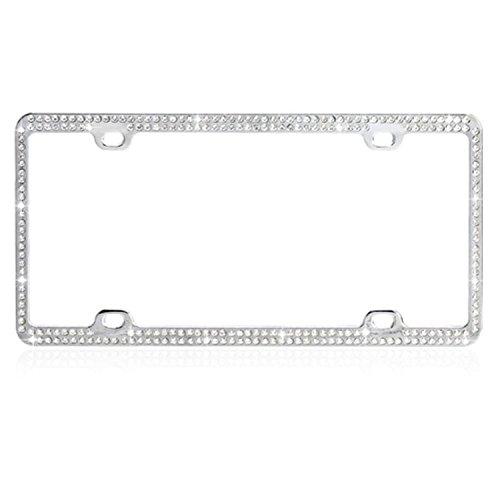 Car Automotive License Plate Frame Chrome Coating Metal with Double Row White 246 Diamonds Crystals Rhinestones (Mybat Rhinestones)