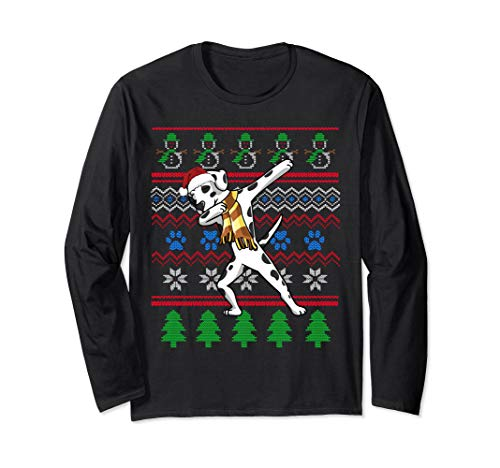 Dalmatian Dabbing Ugly Sweater Style Christmas Long Sleeve ()