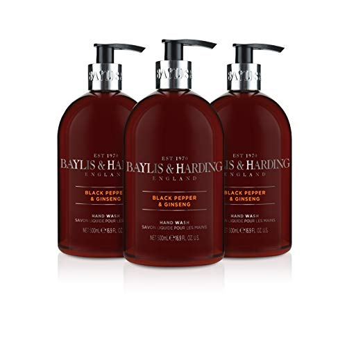Baylis & Harding Mens Black Pepper & Ginseng 500ml Hand Wash, Pack Of 3, 571 Gram