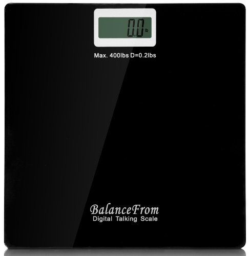 BalanceFrom High Accuracy Talking Digital Bathroom Scale with Audio On/Off Switch, 400 lb Capacity [NEWEST VERSION] (Black), Health Care Stuffs