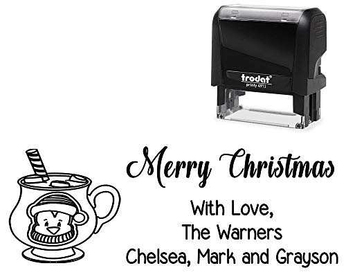 Customized Self-Inking Stamp, Merry Christmas with Love Family. with Mug with Penguin Face Image - Large Stamper with Variety of Designs and Ink Color.
