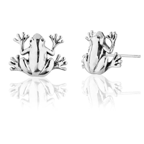 925 Sterling Silver Frog Stud Earrings, Nickel Free