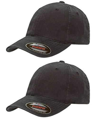 Flexfit Garment Washed Cotton Dad Hat | Low Profile, Stretch Flex Fit Ballcap w/Hat Liner 2-Pack XXL Black