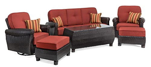 La-Z-Boy Outdoor Breckenridge 6 Piece Resin Wicker Patio Furniture Conversation Set (Brick Red): Two Swivel Rockers, Sofa, Coffee Table, and Two Ottomans With All Weather Sunbrella Cushions (Brick Covered Patio)