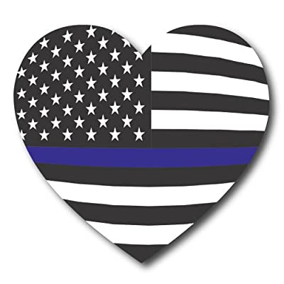 "Thin Blue Line American Flag Heart, 5"" Car Magnet Decal, Heavy Duty for Car Truck SUV - in Support of Police and Law Enforcement Officers: Automotive"