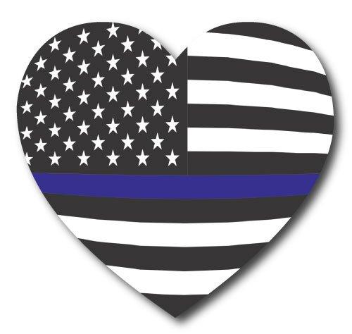 Thin Blue Line American Flag Heart, 5