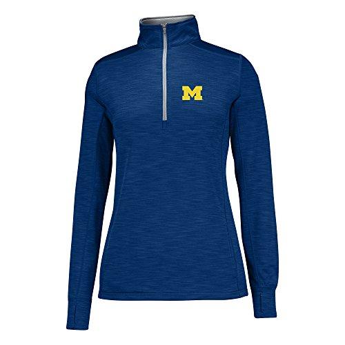 J America Women's Courtside Poly Fleece 1/2 Zip Sweater, Navy/Cement, Medium