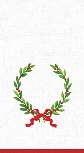 Entertaining with Caspari Christmas Laurel Wreath Paper Guest Towels, Pack of 15