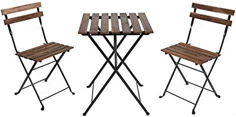 BRIGROS La voglia di fare Set Bistro, tavolino + 2 sedie, Comodo e Portatile, utile per arredo Bar, arredo Giardino, Picnic, Semplice ed Elegante (Acacia, Marrone)