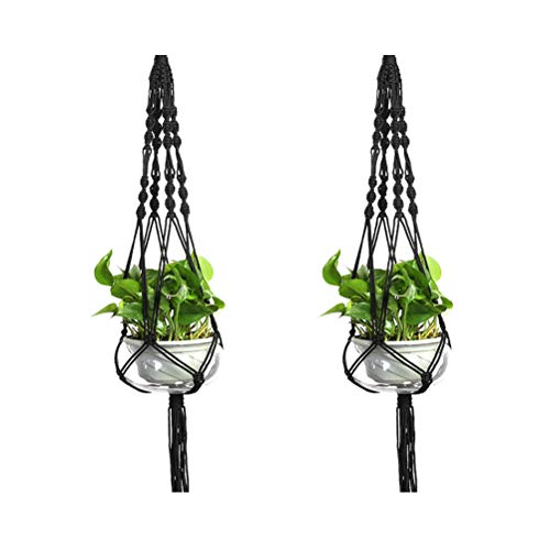 LANGUGU Set of 2 Macrame Plant Hanger Nylon Rope Wall Hanging Planter Basket for Indoor Outdoor Flower Pot Plant Holder Wall Art Vintage-Inspired Home Decor, with Metal Ring 4 Legs 39 inch (Black) (Decor Nylon Flower)
