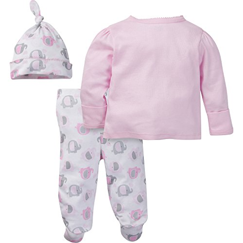 Gerber-Baby-Girls-3-Piece-Side-Snap-Mitten-Cuff-Shirt-Footed-Pant-and-Cap