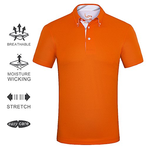 EAGEGOF Men's Shirts Orange Short Sleeve Tech Performance Golf Polo Shirt Loose Fit X-Large