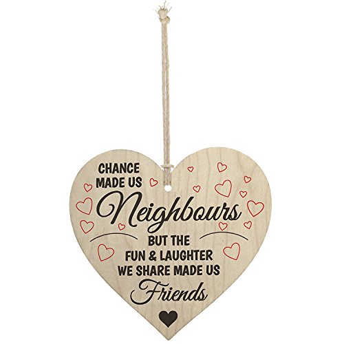Meijiafei Chance Made Us Neighbours Novelty Wooden Hanging Heart Plaque Friendship Gift (Neighbours Gifts For Christmas)