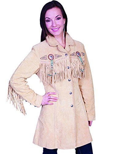 Scully Women's Beaded Fringe Coat Tan X-Large by Scully