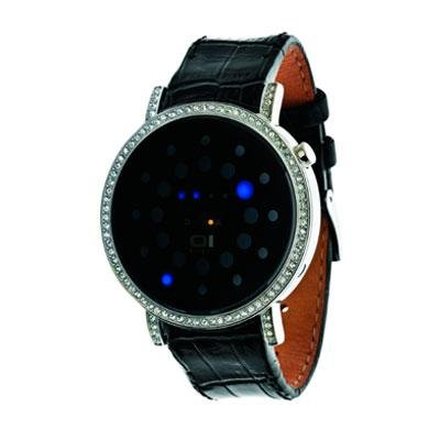 One Stones Rage Odins - The One Odin's Rage Ors502b1 Swarovski Stones Black Leather Strap Blue LED