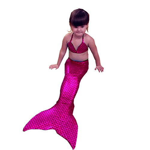 Monofin Sparkle Scale Swimmable Mermaid Kids Girls Cos Gift 001 Tail Bikini top