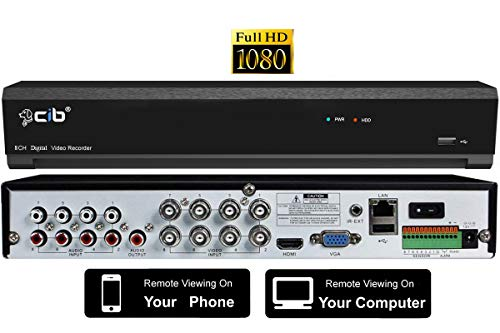 CIB True 1080P HD 8CH Recording and Display DVR System with 2TB HDD with Network Remote Viewing for Most AHD System HD Camera and All 480TLV to 960H TVL Analog Cameras- H80P08K2TB